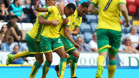 Jacob Murphy is congratulated on his goal at Blackburn on the opening day of last season. Picture by
