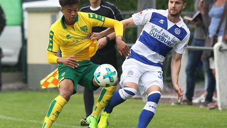 Jamal Lewis in action during Norwich City's 2-0 win over MSV Duisburg during their pre-season camp i