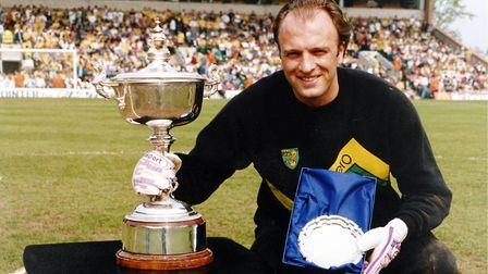 Bryan Gunn after winning City's player of the year award at Carrow Road in May 1988. Picture: Archan