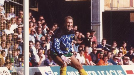 Bryan Gunn during a 1-0 win over Southampton in the Premiership in September 1992. Picture: Archant