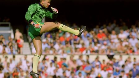 Bryan Gunn in action during a 2-1 win at Arsenal on the final day of the 1987-88 season, which secur