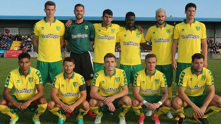 Norwich City's starting XI before the pre-season friendly win at St Colman's Park, Cobh. From left (