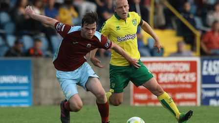 James McSweeney of Cobh Ramblers and Steven Naismith of Norwich City during the Pre-season Friendly