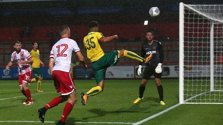 Ben Godfrey was in the thick of the action at Stevenage on Tuesday. Picture: Paul Chesterton/Focus