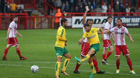 Wes Hoolahan has a shot on goal against Stevenage. Picture by Paul Chesterton/Focus Images