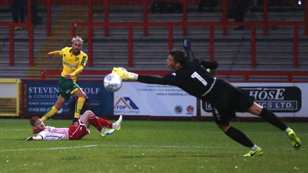 Mario Vrancic of Norwich has a shot on goal during the Pre-season Friendly match at the Lamex Stadiu