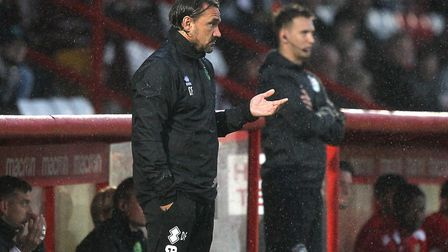 Norwich Head Coach Daniel Farke during the Pre-season Friendly match at the Lamex Stadium, Stevenage