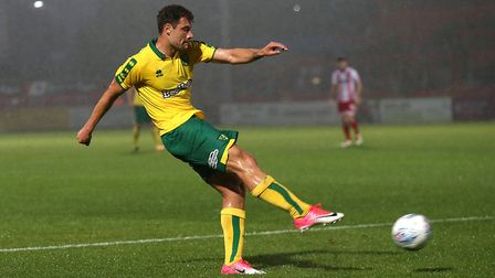 Yanic Wildschut of Norwich has a shot on goal during the Pre-season Friendly match at the Lamex Stad