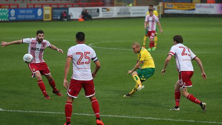 Alex Pritchard of Norwich has a shot on goal during the Pre-season Friendly match at the Lamex Stadi