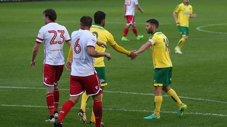 Nelson Oliveira of Norwich celebrates scoring his sides 1st goal from the penalty during spot the Pr