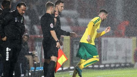 James Husband of Norwich comes on as sub during the Pre-season Friendly match at the Lamex Stadium,