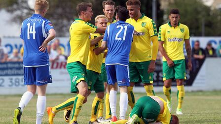 Tempers flare after Harrison Reed is left in a heap by Callum Bishop in Norwich City's pre-season wi