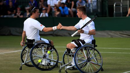 Alfie Hewett, right, and Gordon Reid on their way to the Wimbledon doubles final. Picture: PA