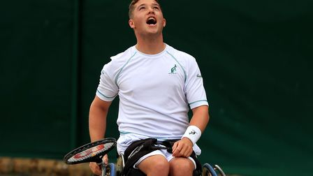 Alfie Hewett lets his frustration show during his singles semi-final loss to Gus Fernandez. Picture: