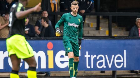 Angus Gunn made his first appearance of pre-season for Norwich City. Picture by Liam McAvoy/Focus Im