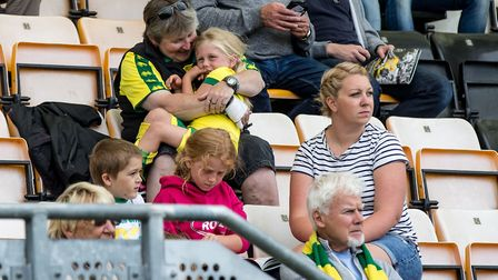 Norwich City fans during the Pre-season Friendly match at the Cambs Glass Stadium , CambridgePicture
