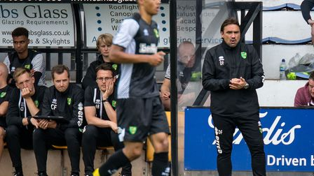 Daniel Farke issues his instructions during Norwich City's friendly at Cambridge, as his coaching st