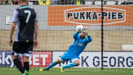 Goalkeeper Remi Matthews of Norwich City pulls off a save during the Pre-season Friendly match at th