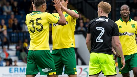 Ben Godfrey of Norwich City celebrates his goal during the Pre-season Friendly match at the Cambs Gl