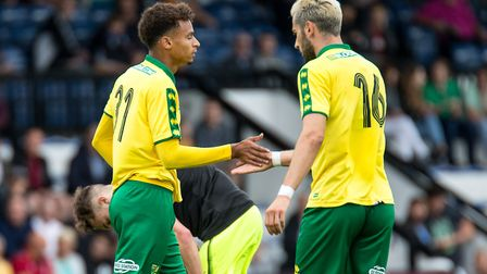 Josh Murphy of Norwich City celebrates his goal with Mario Vrancic of Norwich City during the Pre-se