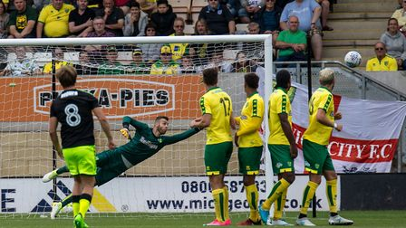 Goalkeeper Angus Gunn of Norwich City during the Pre-season Friendly match at the Cambs Glass Stadiu