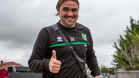 Daniel Farke head coach of Norwich City arrives during the Pre-season Friendly match at the Cambs Gl