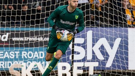 Angus Gunn made his pre-season debut for the Canaries at Cambridge. Picture by Liam McAvoy/Focus Ima