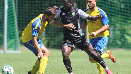 Diallang Jaiyesimi of Norwich U23s in action against Braunschweig U23s. Picture by Paul Chesterton/F