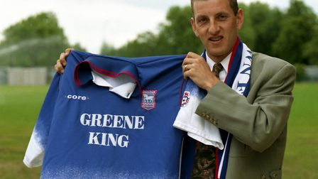 Ian Crook signing for Ipswich Town in June 1996 - before re-signing for Norwich City. Picture: Archa