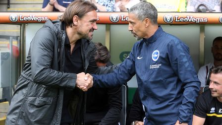 Daniel Farke's first Carrow Road experience was against former Norwich City manager Chris Hughton's