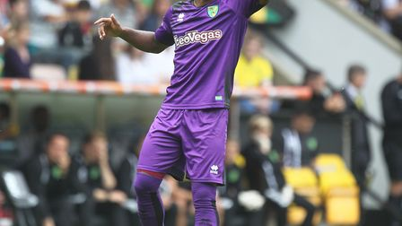 Cameron Jerome of Norwich wearing the brand new 3rd kit during the Pre-season Friendly match at Carr