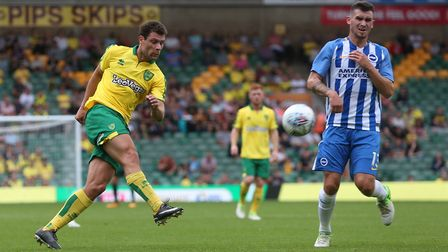 Yanic Wildschut of Norwich has a shot on goal during the Pre-season Friendly match at Carrow Road, N