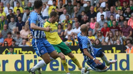 Marley Watkins of Norwich has a shot on goal during the Pre-season Friendly match at Carrow Road, No