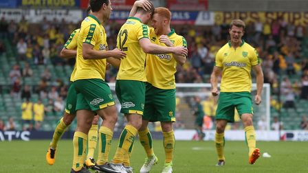 Marley Watkins of Norwich celebrates scoring his sides 1st goal during the Pre-season Friendly match