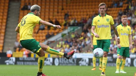 Mario Vrancic of Norwich has a shot on goal from a free kick during the Pre-season Friendly match at