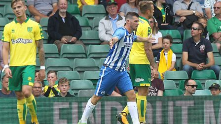 Pascal Gross of Brighton celebrates opening the scoring for Brighton at Carrow Road. Picture by Paul