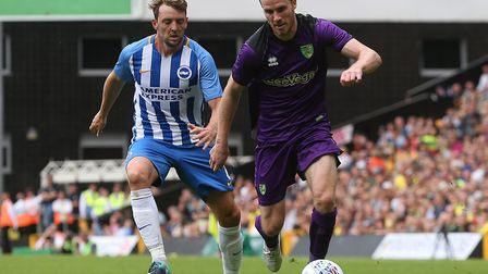 Marley Watkins played the full game against Brighton, wearing Citys new third kit in the second half