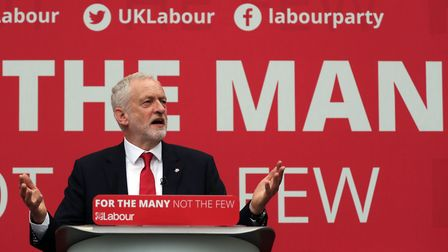 Jeremy Corbyn at the launch in Bradford of the Labour Party manifesto for the General Election.