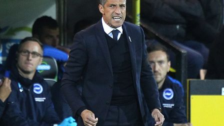 Chris Hughton saw his Brighton side lose 2-0 at Carrow Road in April, as they allowed the Championsh