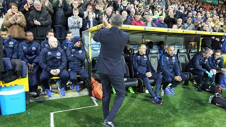 Chris Hughton was given a warm reception when he returned to Carrow Road last season. Picture by Pa