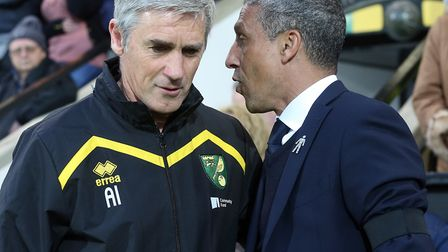 Norwich Caretaker Manager Alan Irvine and Brighton & Hove Albion Manager Chris Hughton before the Sk