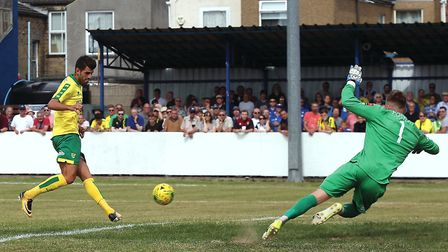 Nelson Oliveira, pictured scoring at Lowestoft, was City's top scorer during pre-season. Picture by