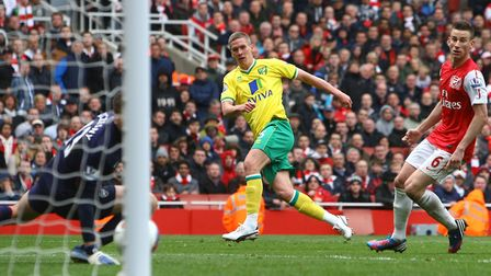 Steve Morison scoring Norwich City's late equaliser in a 3-3 draw at Arsenal in the Premier League i