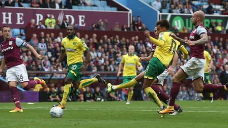 Josh Murphy of Norwich scores his sides 1st goal during the Sky Bet Championship match at Villa Park