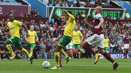 Josh Murphy slots home Norwich City's first goal at Villa Park - but sadly it didn't merit any point