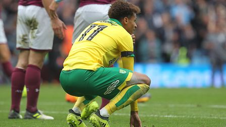 Josh Murphy reflects on a tough afternoon for Norwich City at Villa Park. Picture: Paul Chesterton/F