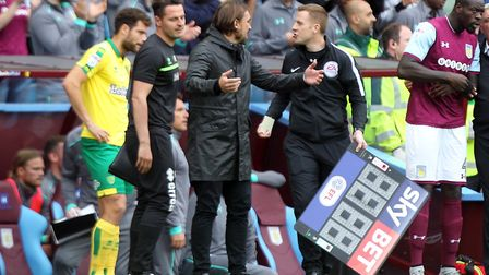 Daniel Farke felt Norwich City were on the end of a poor decision for Aston Villa's fourth goal. Pic
