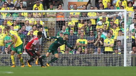 Angus Gunn can only watch Aiden McGeady's rocket in Sunderland's 3-1 Championship win. Picture: Pau
