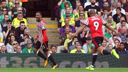 Lewis Grabban was on target against his old club Norwich City at Carrow Road. Picture: Paul Chestert