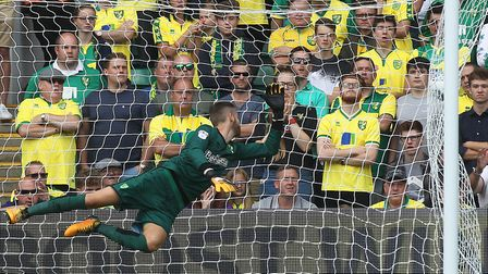 Angus Gunn can't keep out Aiden McGeady's shot, which put Sunderland 2-0 up at Carrow Road on Sunday